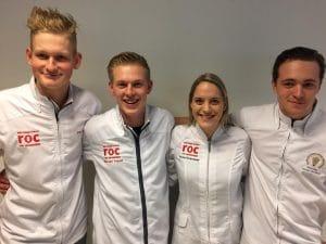 Deelnemers aan de Skills Nederland wedstrijd met rechts Jason de Haan